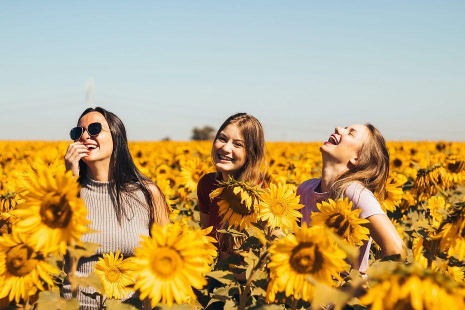 Trzy śmiejące się dziewczyny stojące na łące słoneczników